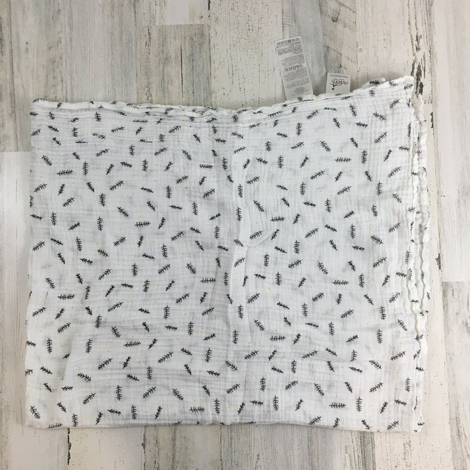ADEN ANAIS Pine Leaf Twigs Yellow Polka Dot Cotton Muslin Baby Blanket Swaddle - $19.99