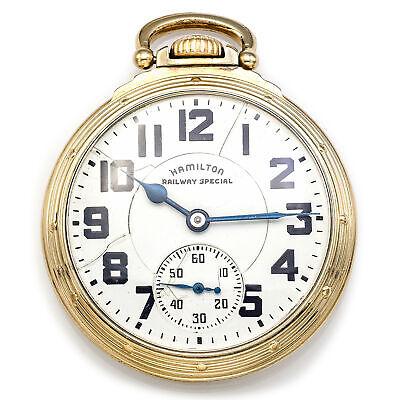 Antique 1947 Hamilton Gold Filled 21 Jewels Size 16 Pocket Watch 51.4 mm