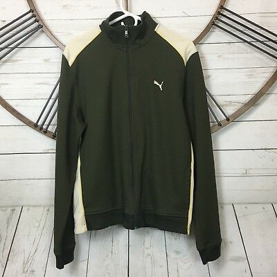 PUMA Mens Full Zip Jacket Stand Up Collar Size XL Green Off White  Full Zip Stand