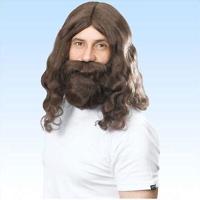 Braune gewellte Jesus / Hippieperücke und Bart Perücke gelockte Haare
