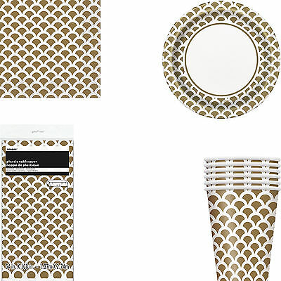Gold And White Scallop Printed Party Tableware Tablecover Plates Cups Napkins](Gold And White Paper Plates)