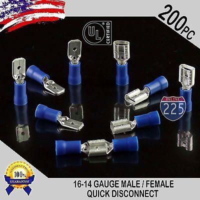 200 Pack 16-14 Gauge Male Female Quick Disconnect Blue Vinyl .250 Connectors