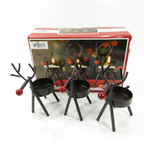 San Miguel Holiday REINDEER Tea light Candle Holder Trio Set of 3 Christmas