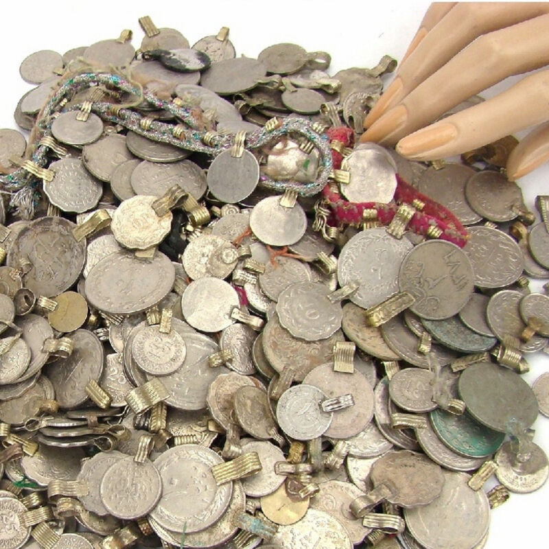 Tribal 50 real COINS Belly Dance MIXED + FREE Kuchi Beaded Medallion