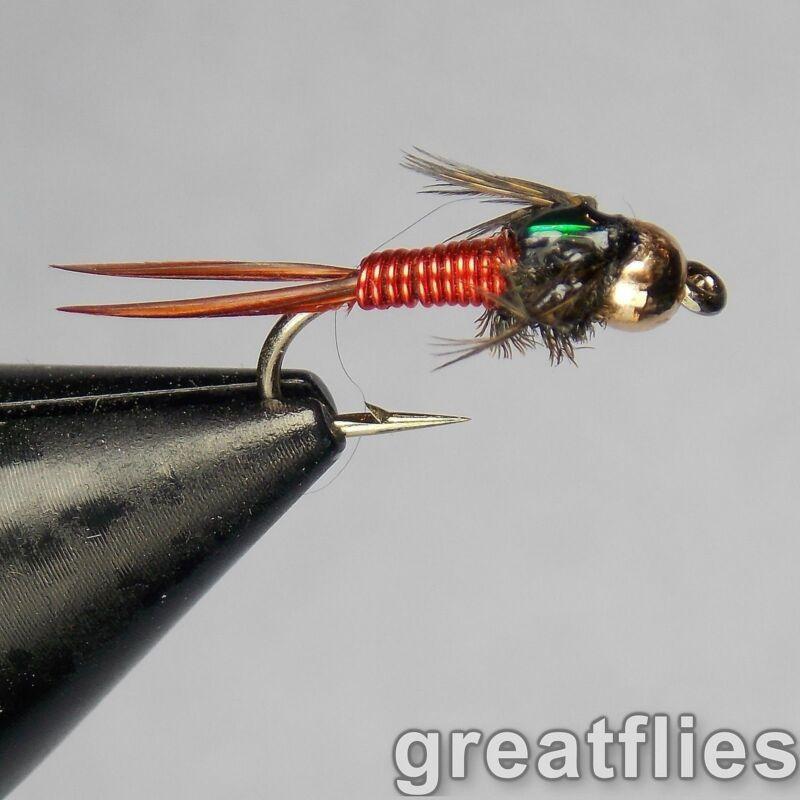 1 dozen (12) - Copper John - RED - Bead Head