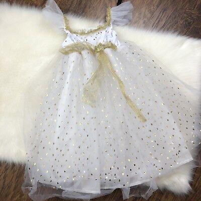 Pottery Barn Kids Gold Snow Fairy Costume 7-8 Tutu Dress Polka Dot Halloween - Gold Fairy Costume