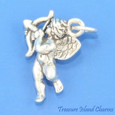 CUPID WITH LOVE BOW AND ARROW CHERUB ANGEL 3D .925 Solid Sterling Silver Charm](Bow And Arrow Cupid)