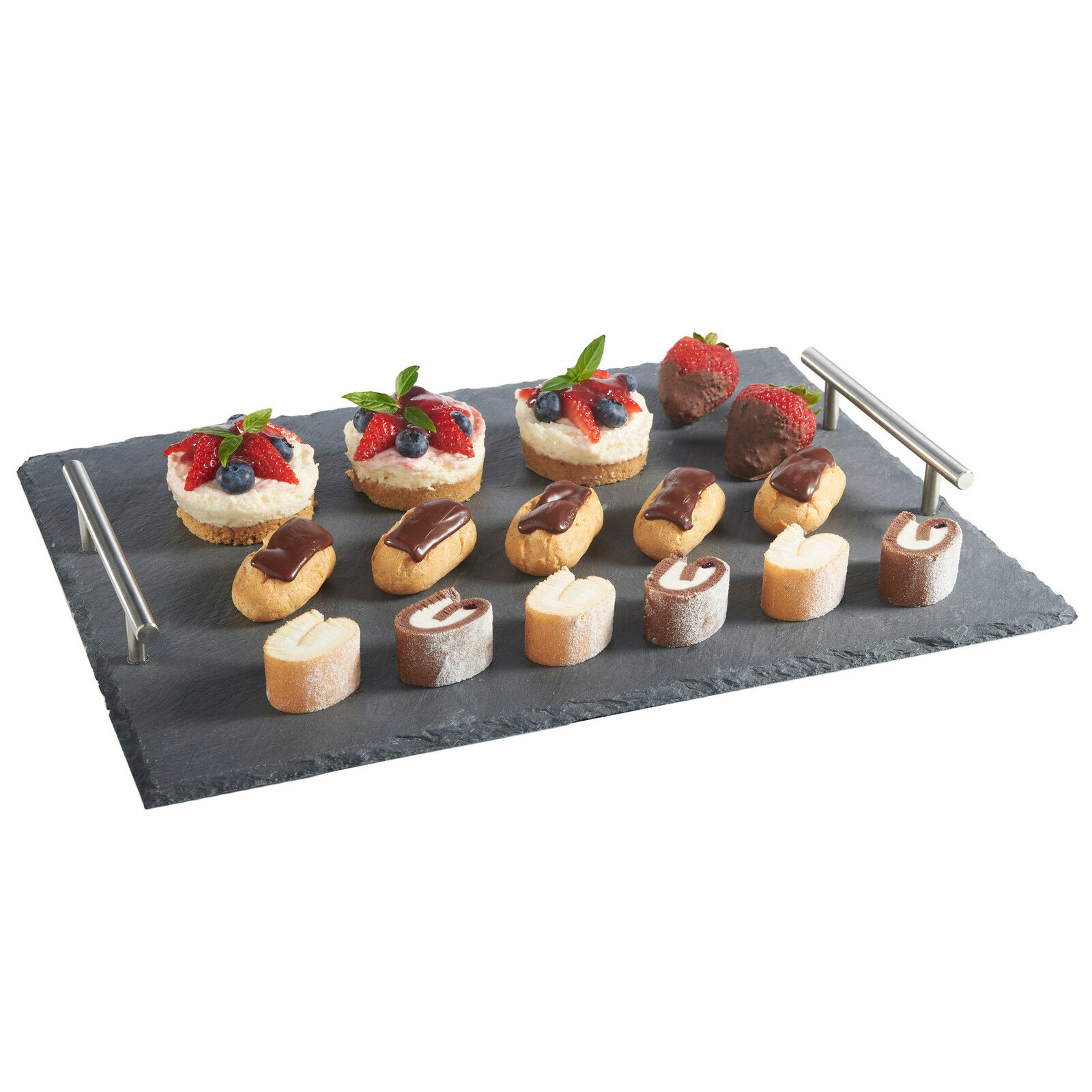 vonshef 13 piece tapas canape slate serving tray with dish set for dining buffet. Black Bedroom Furniture Sets. Home Design Ideas