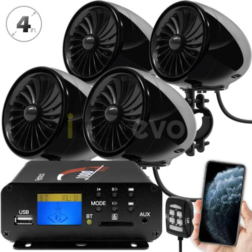 1000W Motorcycle Bluetooth 4 Speakers Stereo Audio System ATV UTV Can-Am Polaris