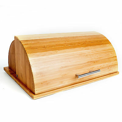 Quality Roll Top Bamboo Breadbox w/ Built in Cutting Board 15.5 x 12.6 x 6.5