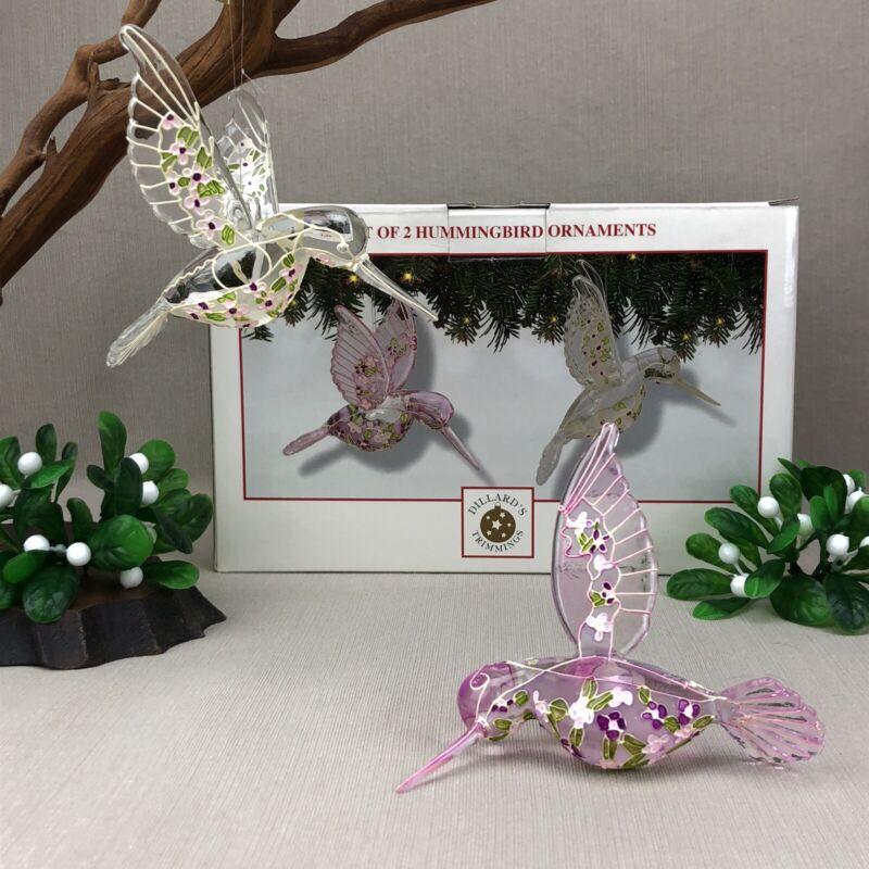 2 Glass Hummingbird Ornaments Vintage Dillard