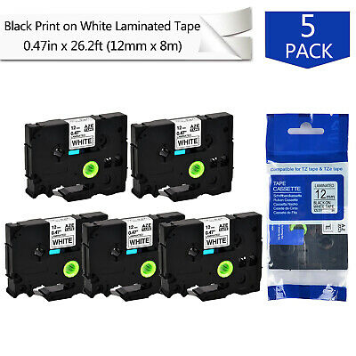 5pk 12 Tz-231 Tze-231 Black On White Label Tape For Brother P-touch Pt-1230pc