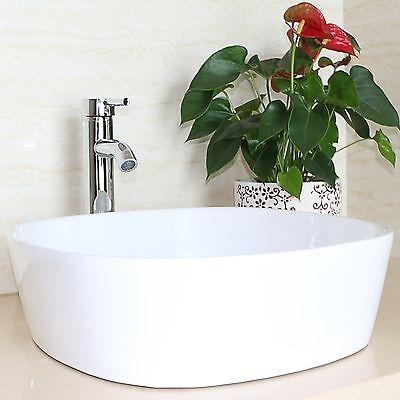 Bathroom Ceramic Utensil Sink Vanity Porcelain Basin Faucet Combo Drain White