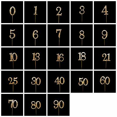 45mm Gold Diamante Rhinestone Cake Topper Birthdays Wedding Diamonte Numbers UK ()