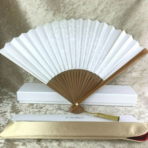Rare Authentic Cartier Panthere Japanese Hand Fan Sensu Novelty Item w/Case(NEW)