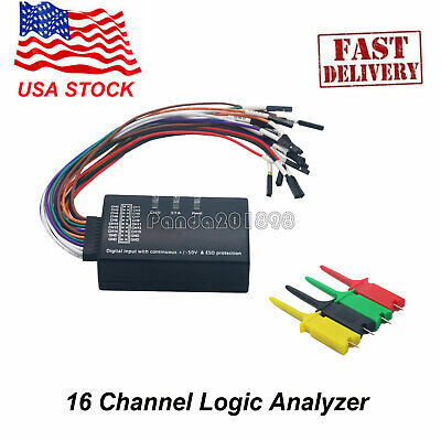 New 16 Channel Logic Analyzer Usb 100m Sample Rate 16ch Version 1.1.34 1.2.10 Us