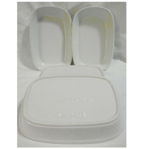 Set of 4 White Individual Rectangle Casserole Baking Dish Ovenproof Japan - MINT