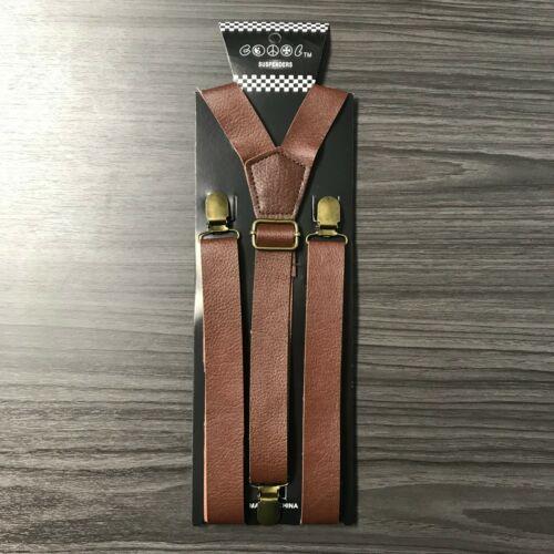 """Dk Brown FauxLeather Mens Clip-on 1.0"""" WIDE Suspenders Elastic Y-Shape Suspender"""