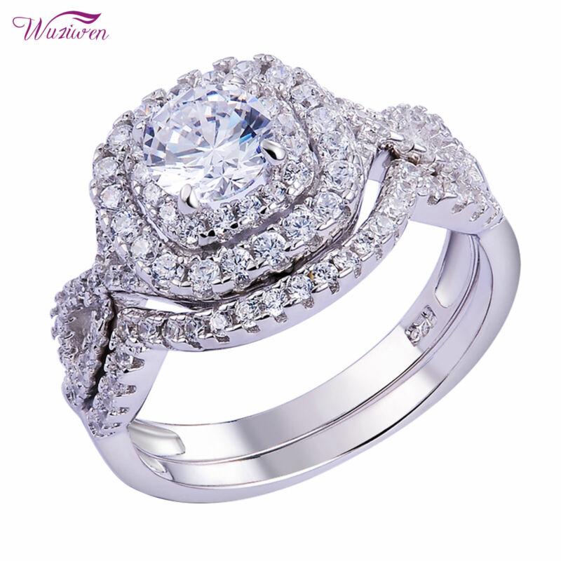 Wuziwen 925 Sterling Silver Halo Round Aaaa Cz Women Wedding Engagement Ring Set