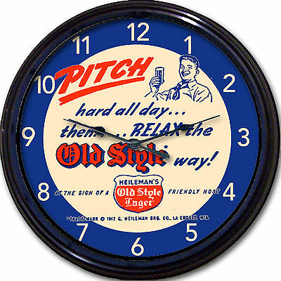 Heilemans Old Style Beer Coaster Wall Clock La Crosse WI Ale Brew Man Cave 10""