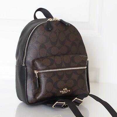 NWT Coach F58315 Mini Charlie Signature Backpack Bag Brown Black $295