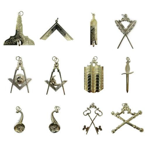 Masonic Blue Lodge Officer Collar Jewels Set of 12 (SILVER)