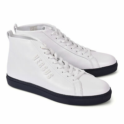 Versace Collection Men's White Leather High Top Sneaker EU 39-45 US 6-12 NEW