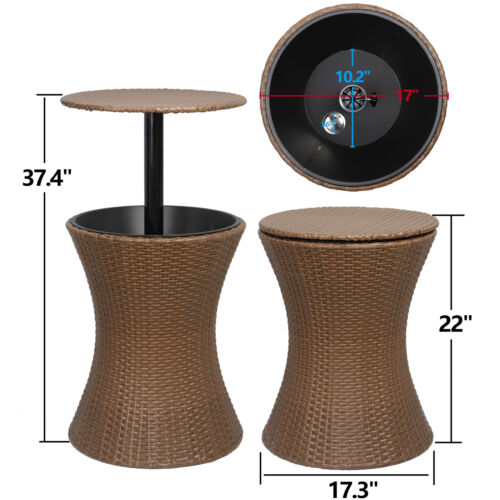Cool Bar Ice Cooler Adjustable Rattan Table Outdoor Patio Party Pool Backyard Home & Garden