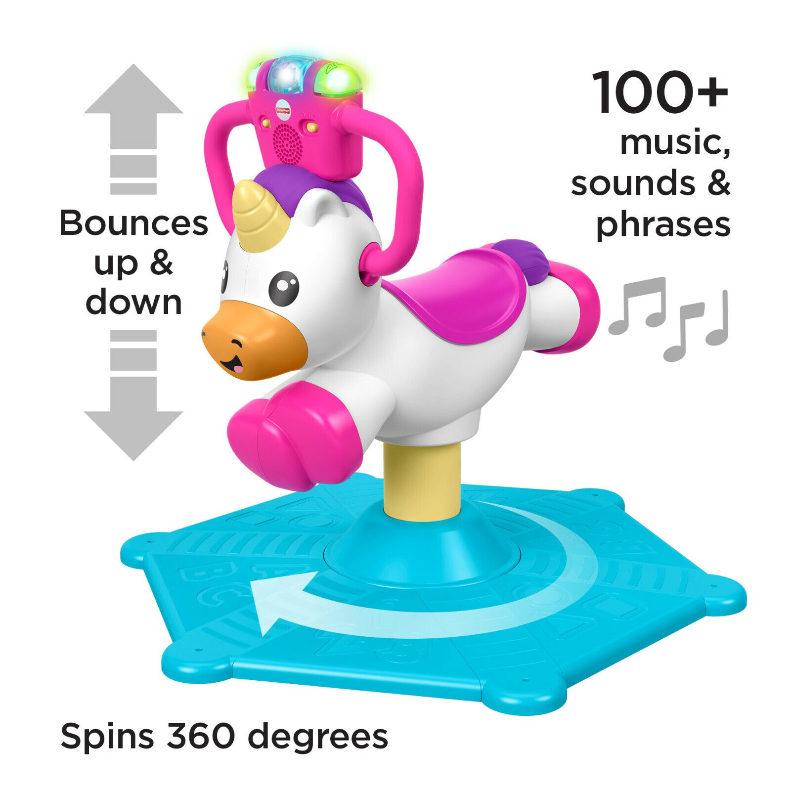 Fisher-Price Bounce and Spin Unicorn Toy Musical 2-Learning