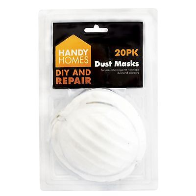 20 DUST masks disposable moulded shell type elasticated face masks