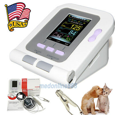 Vet Electronic Sphygmomanometer Blood Pressure Monitor Tongue Spo2 Probe Catdog