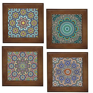 Moroccan patterns home decorative ceramic framed tile wall art plaque