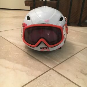 Girls Giro Slingshot helmet size small with Smith Goggles.