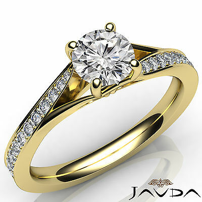 Cathedral Style Split Shank Round Diamond Engagement Ring GIA F Color SI1 0.85Ct