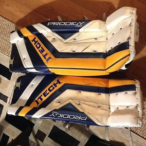 Goalie pads with glove and blocker