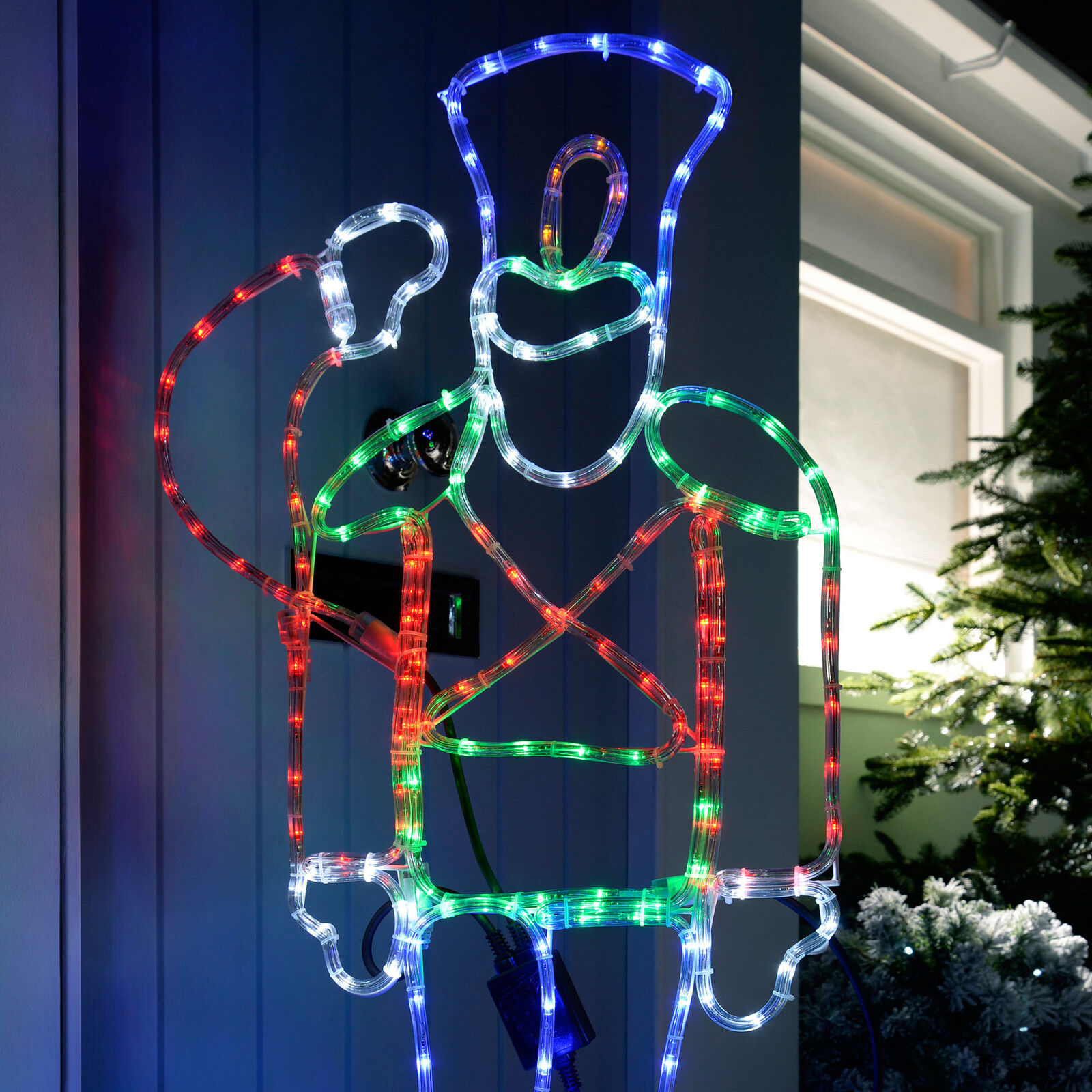 Large 116cm pre lit animated soldier rope light sihouette for Large christmas light decorations