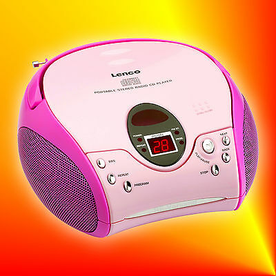 Lenco SCD-24 pink Stereo UKW/FM-Radio mit CD-Player | Boombox Kinder online kaufen