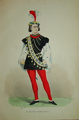 Litho COSTUME COULEUR MODE ROBE HOMME MOYEN AGE 1850 NOBLESSE MEDIEVAL FASHION