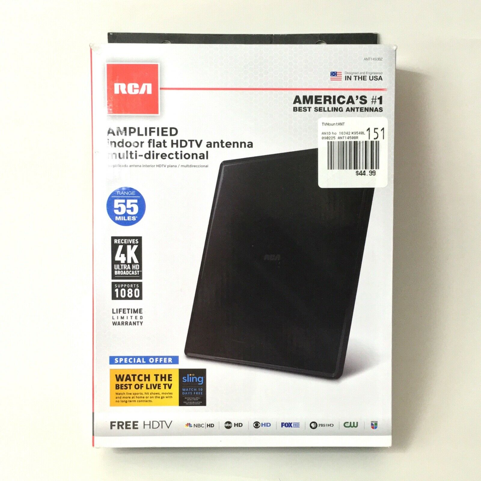 RCA Amplified Indoor Flat HDTV Antenna Multi-directional - M