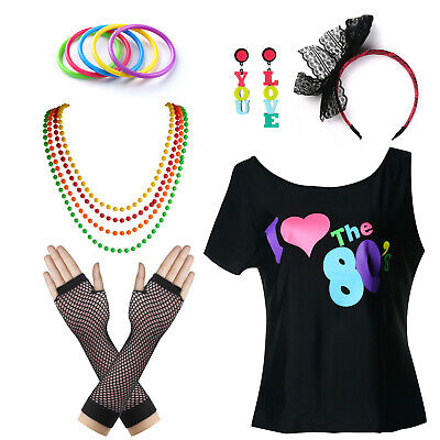 80s Disco Costume (1980s Outfit I Love The 80's Disco Party T-Shirt Fancy Outfit Costume Set)
