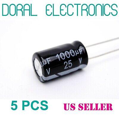 5 Pcs 1000 Uf 1000mfd 25v 105c Electrolytic Capacitor 10x17mm 1000uf Mdf 105c