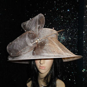 TAUPE WEDDING ASCOT HAT FORMAL OCCASION MOTHER OF THE BRIDE DIAMONTE