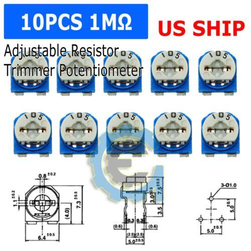 10pcs 1M ohm 105 Adjustable Resistor Trimmer Potentiometer RM065- US Seller Fast