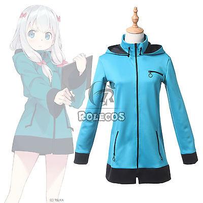 Sensei Kostüm (Eromanga Sensei Izumi Sagiri Blue Hoodie Hooded Outfit Cosplay Costume New Anime)