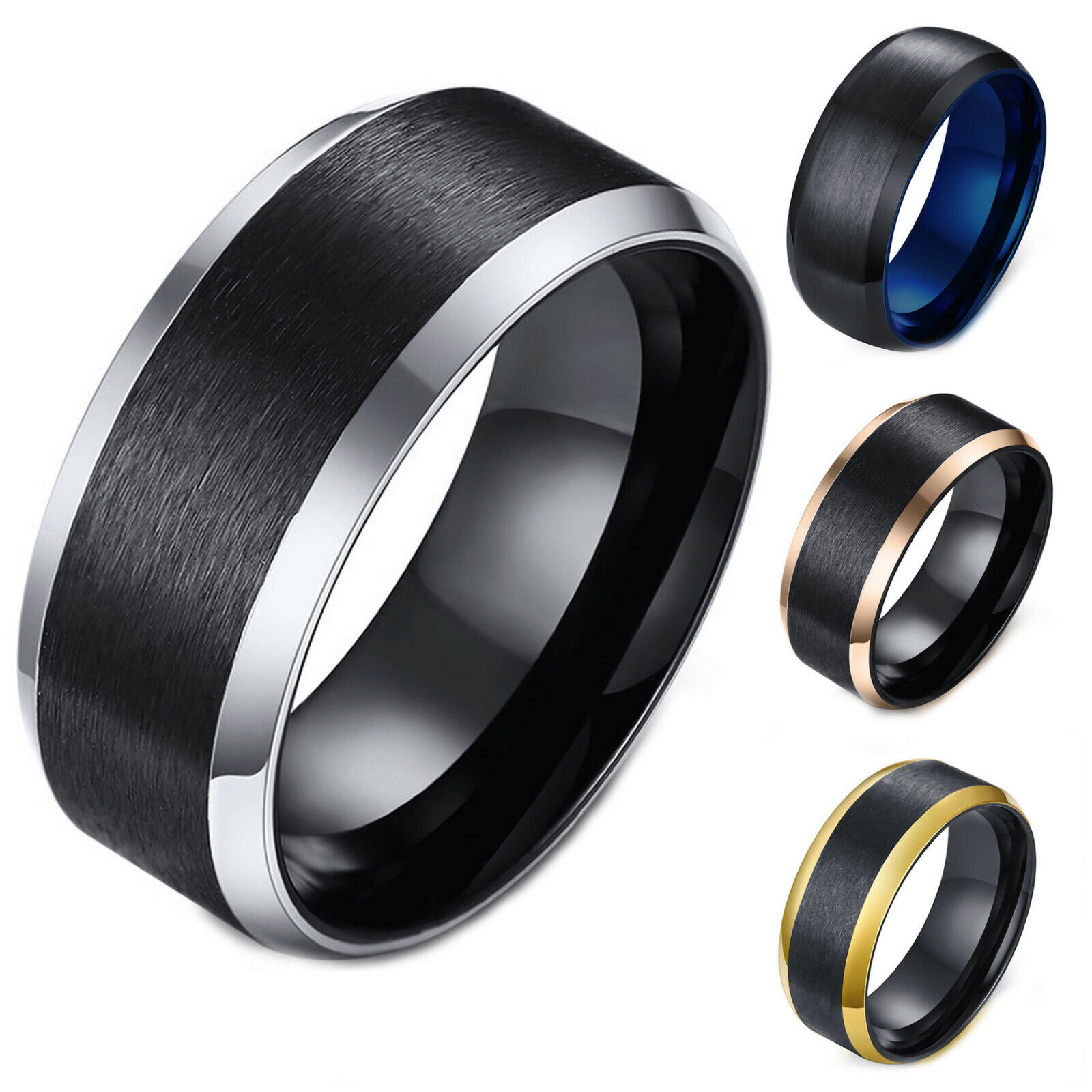 Men's Ring Stainless Steel 2-Tone Matte Finished Comfort Fit Wedding Band Jewelry & Watches