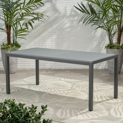 Cherie Outdoor Aluminum Dining Table with Tempered Glass Table Top Home & Garden