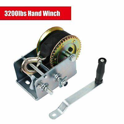 3200lb Hand Winch Hand 2 Gear Crank Heavy Duty Atv Trailer Boat Steel Frame 33ft