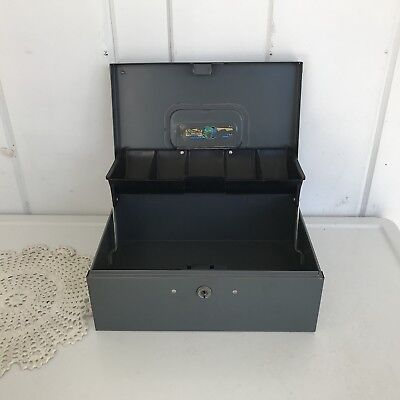 Vintage Steelmaster Office Equipment Gray Cash Box No Key Usa