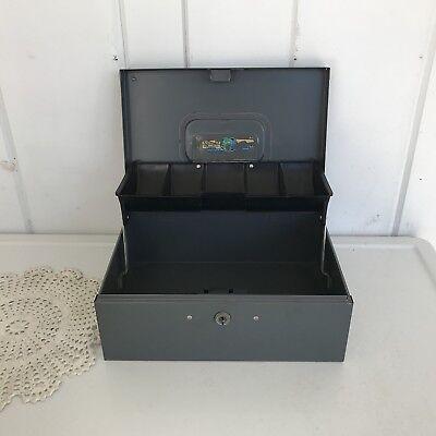 Vintage Steelmaster Office Equipment Gray Cash Box No Key Usa