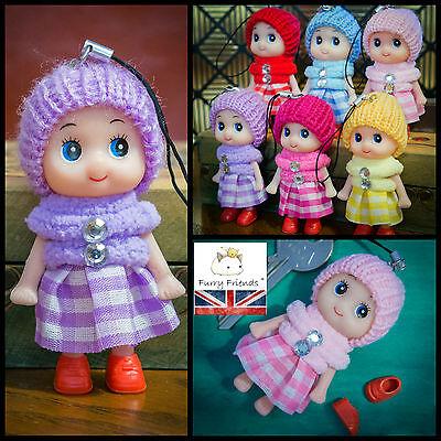 UK Verkäufer! Süß Wollig Puppe Niedliche Baby Schlusselring Charm Pom Handtasche